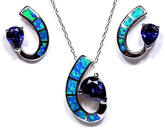 Fine Jewelry Blue Opal & Tanzanite .925 Sterling Silver Pendant