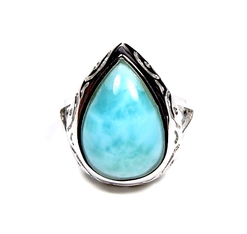 100/% Genuine AAA Dominican Larimar 925 Sterling Silver Band Ring sizes 6,7,8,9