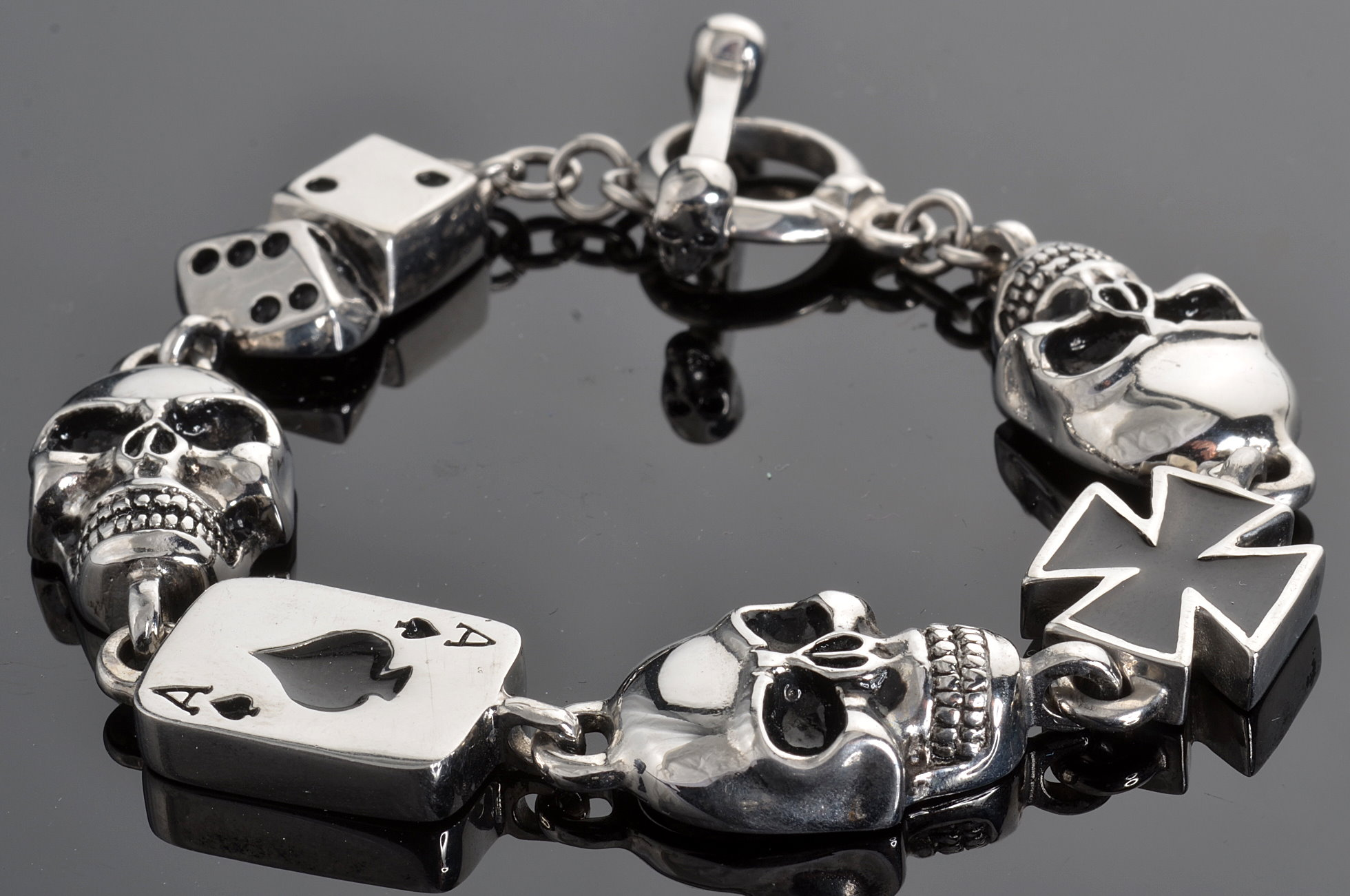 Gents Stainless Steel Silver Black 9 Bike Chain Bracelet It Now And Ships Today Priority Mail