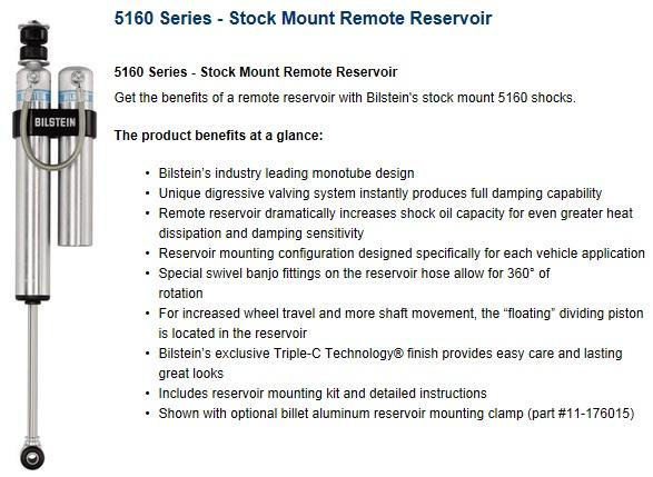 Bilstein 25-187793 Monotube 5160 Series Rear Shock