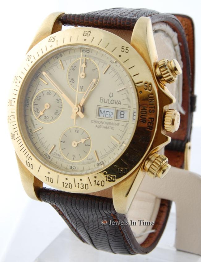 bulova mens 18k yellow gold chronograph automatic wrist