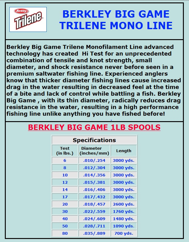 50lb 1090yd berkley big game mono trilene green fishing for Big game fishing line