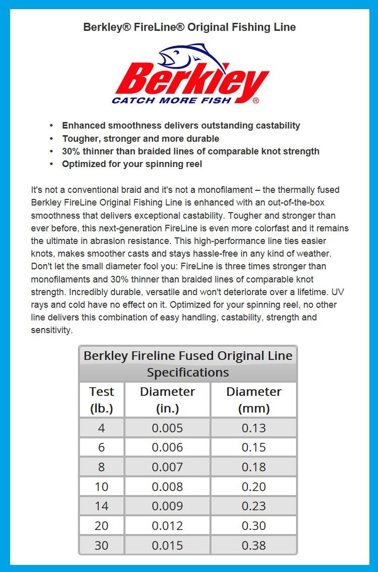 Berkley fireline fused braid fishing line 30lb 125yd for Fishing line strength chart