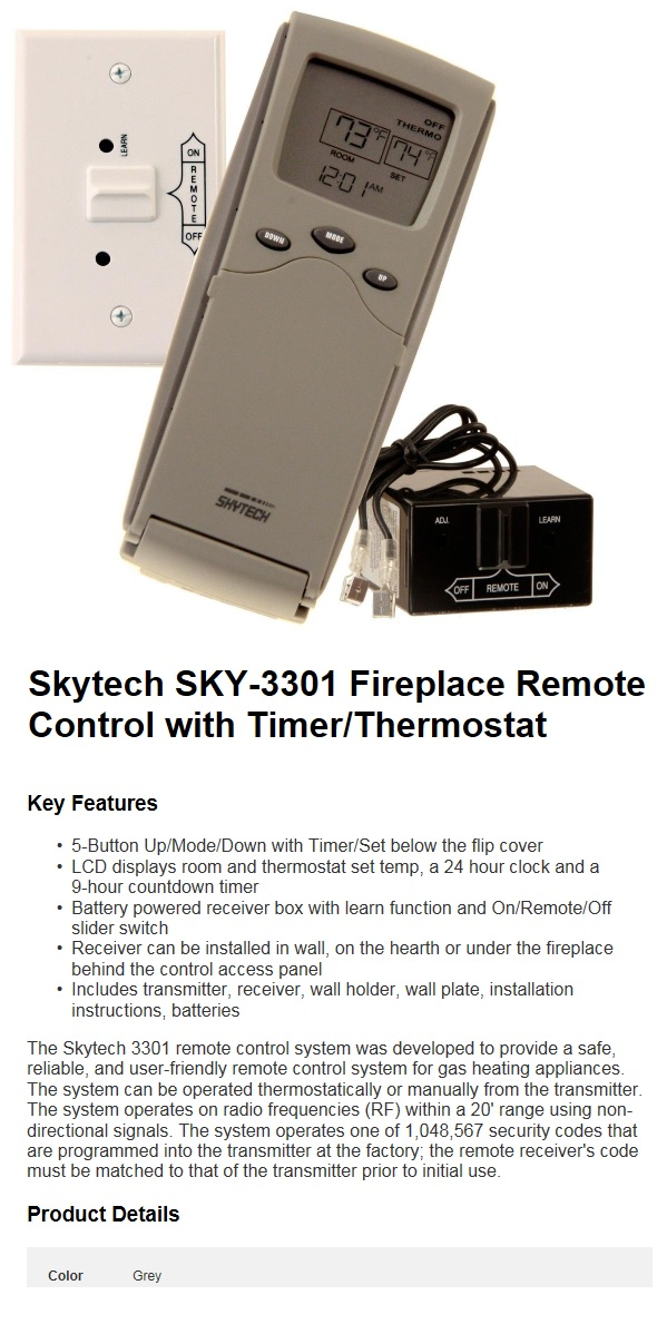 skytech sky 3301 fireplace remote control with timer. Black Bedroom Furniture Sets. Home Design Ideas