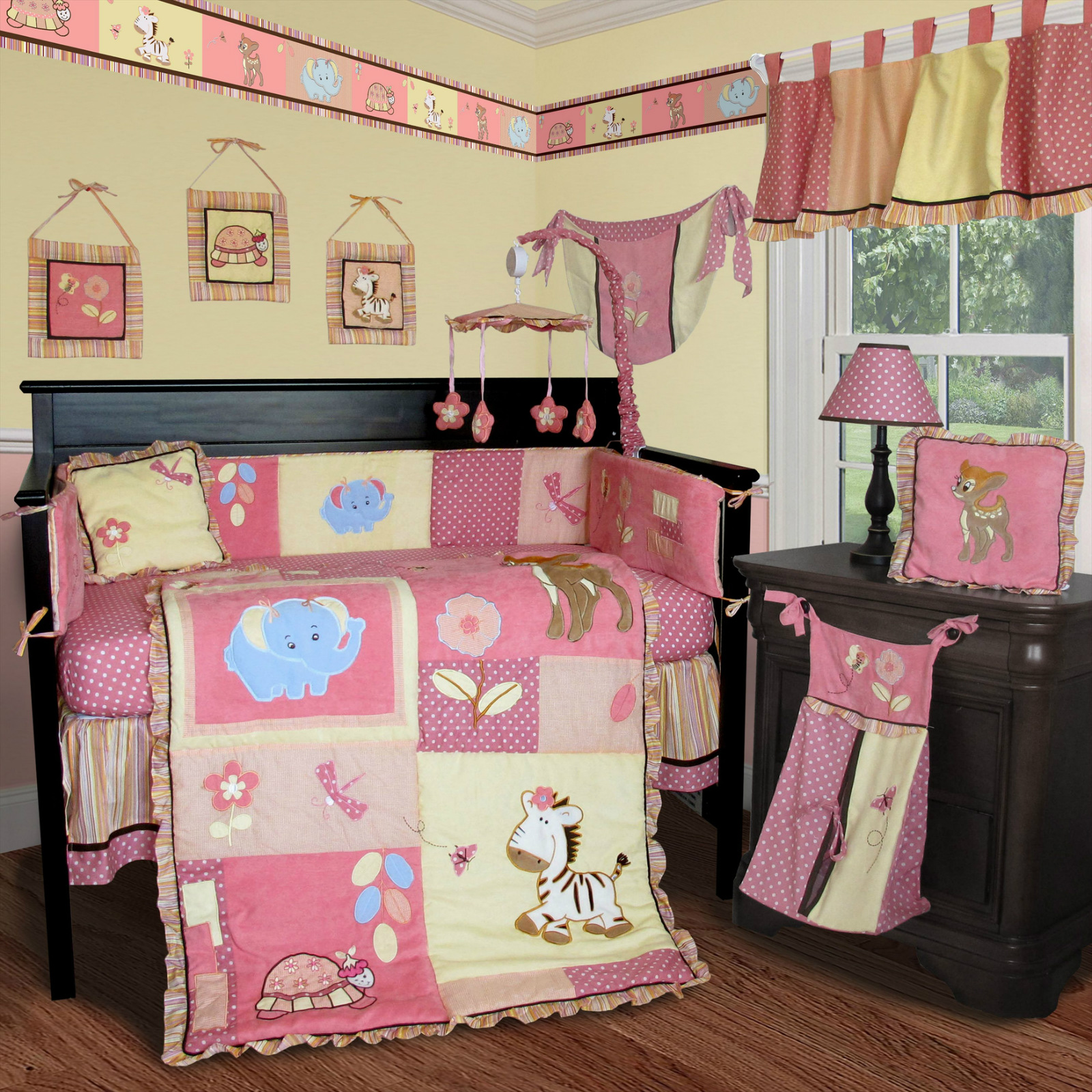 baby boutique jungle animal 13 pcs crib nursery bedding set ebay. Black Bedroom Furniture Sets. Home Design Ideas