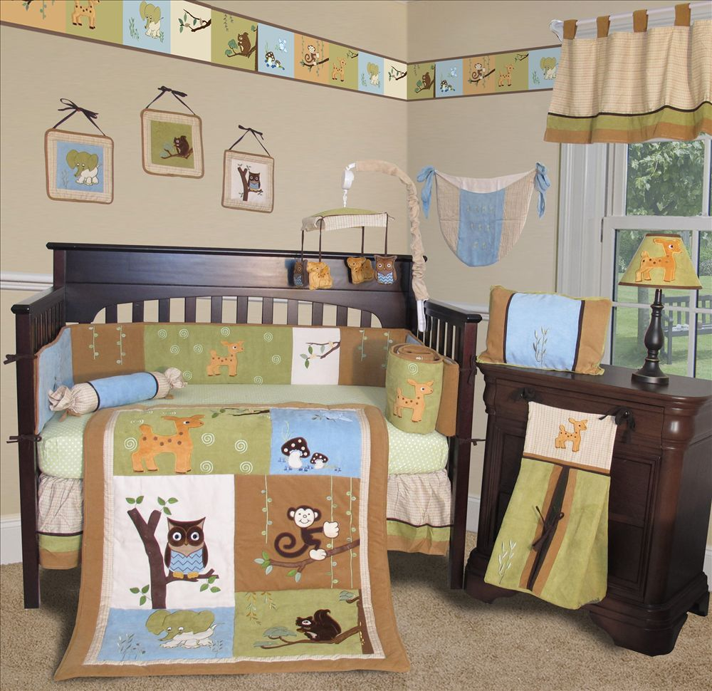 Baby Boutique Forest Friends 13 Pcs Crib Nursery Bedding