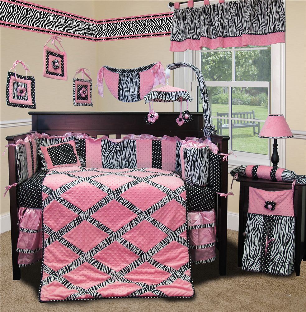 Baby Boutique Pink Minky Zebra 13 Pcs Baby Girl Crib