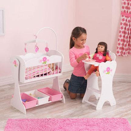 New Kidkraft Floral Fantasy Baby Doll Furniture Cradle High Chair Pretend Play Ebay