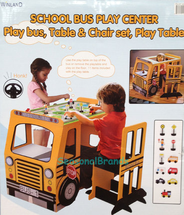 New kids school bus play center table chair desk - School bus table and chair ...
