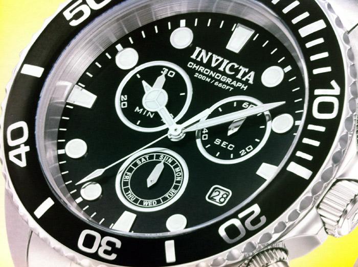 Mens Invicta Pro Diver Sport Chrono Watch 43 mm with Collectors Case