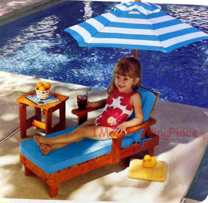 NEW KidKraft Kid Lounge Set Solid Wood Chair Table Umbrella Patio Pool Furnit