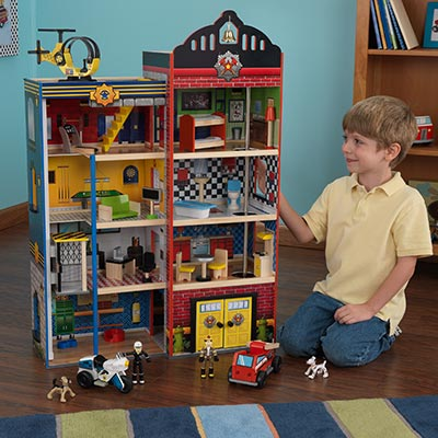 New kidkraft deluxe kids wooden fire house police station rescue toy play set ebay - Costco toys for kids ...