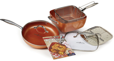 New Copper Chef Pro 7 Piece Cookware Set Heavy Duty Pan