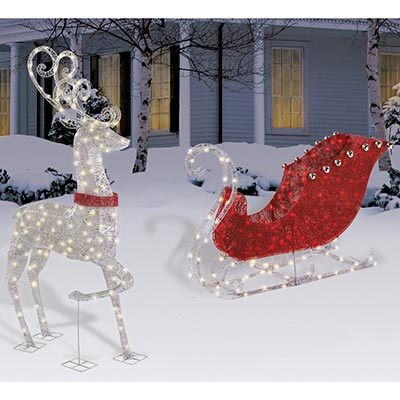 "NEW OUTDOOR CHRISTMAS 48"" LIGHTED SLEIGH & 60"" REINDEER ..."