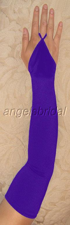 23 Purple Fingerless Satin Wedding Prom Opera Gloves
