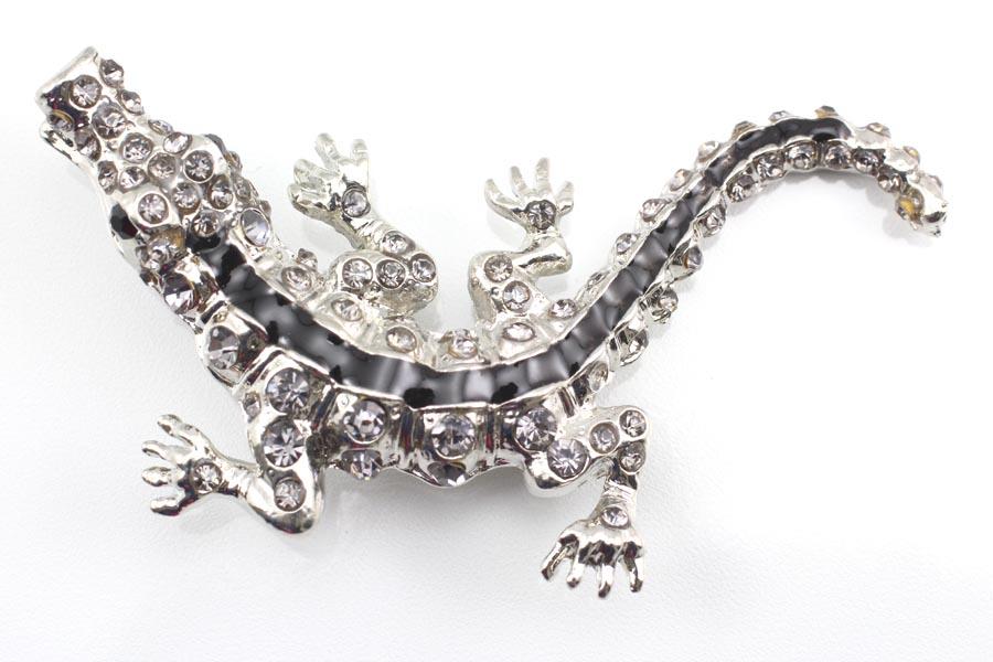 Smokey Austrian Rhinestone Crystal Alligator Brooch Pin
