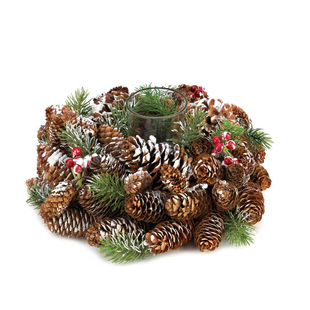 Snowy pine cone wreath candle holder christmas collectible