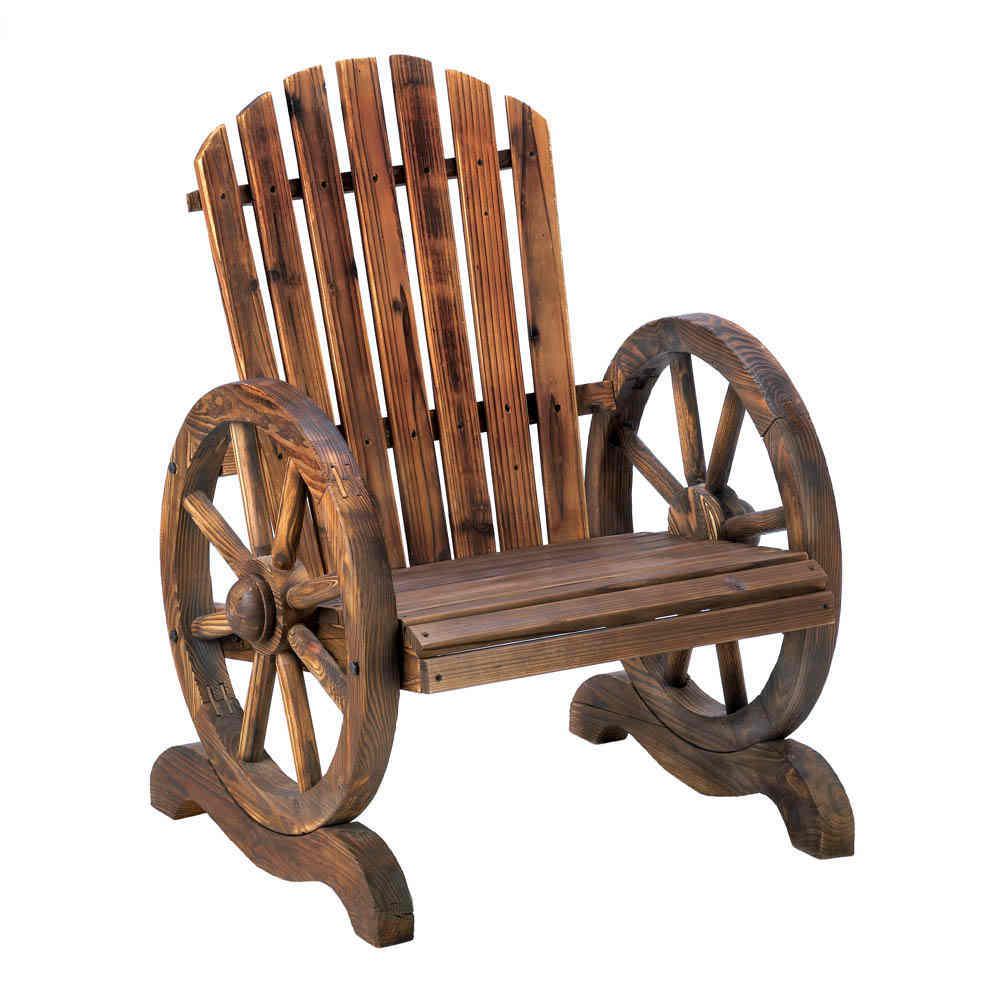 Wood Arm Art ~ Old country wood wagon wheel chair outdoor garden decor ebay
