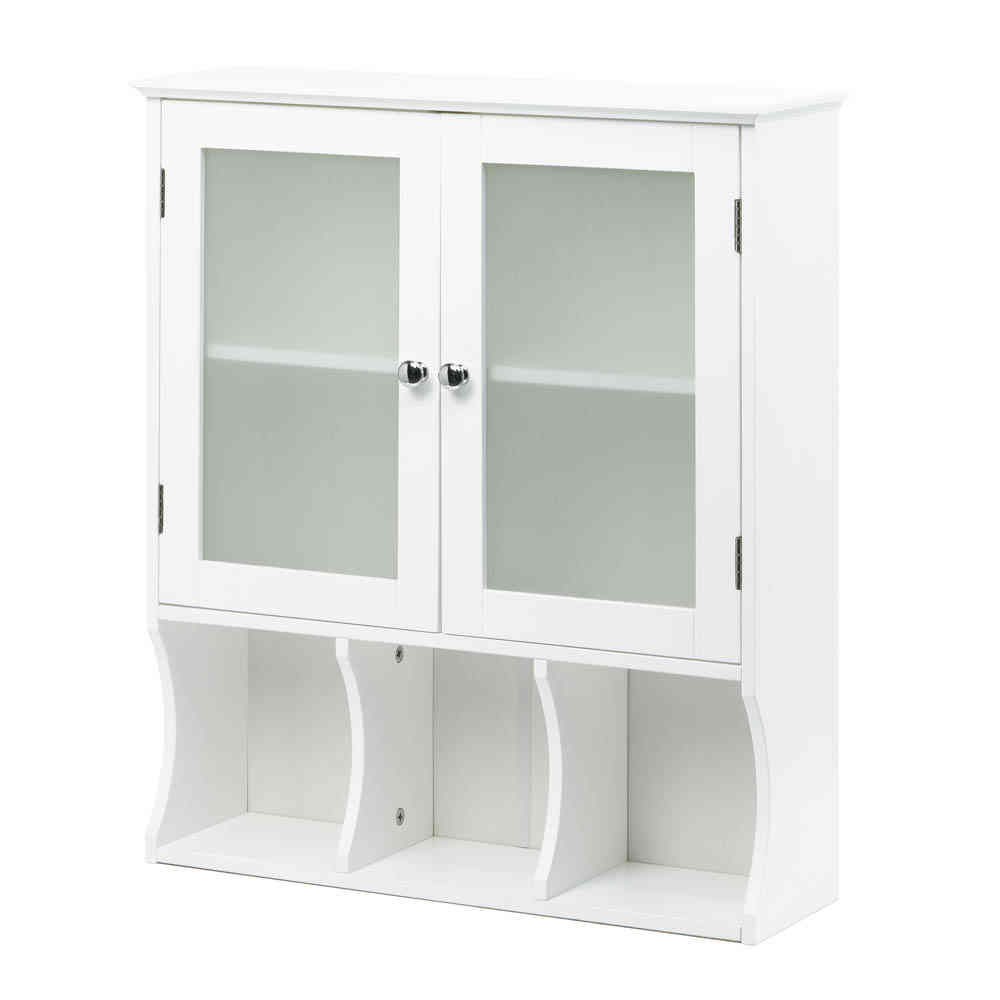 White Aspen Wall Storage Cabinet W Frosted Glass Bathroom Or Kitchen 10016913 Ebay