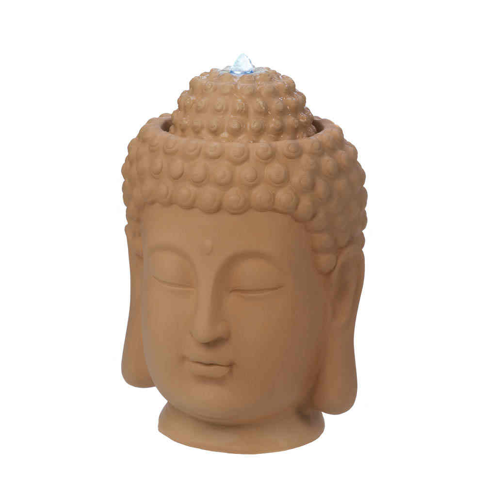"Large Buddha Head Fountain: LARGE Zen Garden 18"" Buddha Head Bird Bath Meditation Yoga"