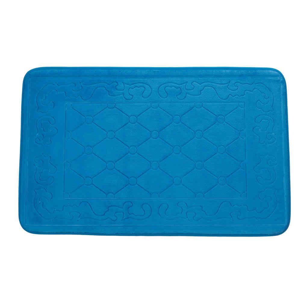 TEXTURED DESIGN blue Cushioned microfiber memory foam
