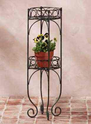 SCROLLED METAL 2 TIER PLANTER PLANT STAND SHELF UNIT