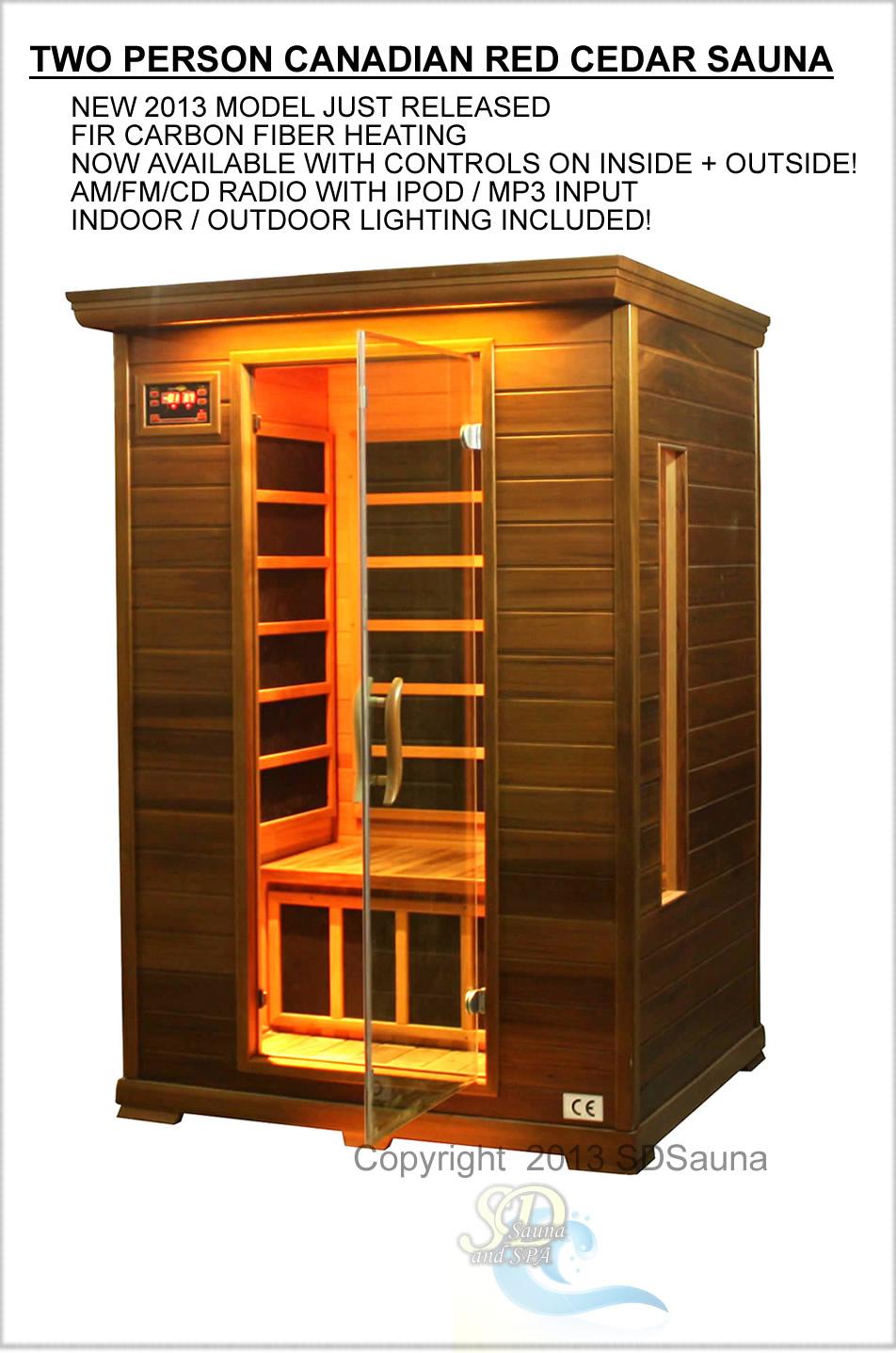 2 person sauna red cedar far infrared 7 carbon heaters 1 ceramic floor heat new ebay. Black Bedroom Furniture Sets. Home Design Ideas