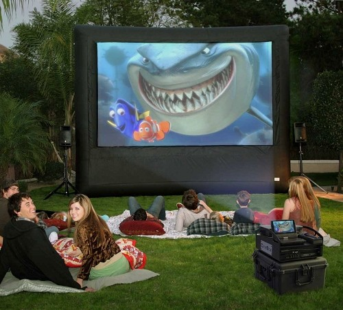 outdoor movie system 12x7 39 screen theater dvd projector speakers new