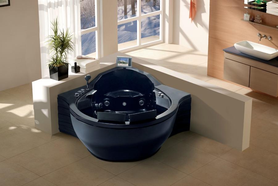 2 PERSON WHIRLPOOL BATHTUB 30 MASSAGE JETS BATH SPA Heat Ozone Tercera Black