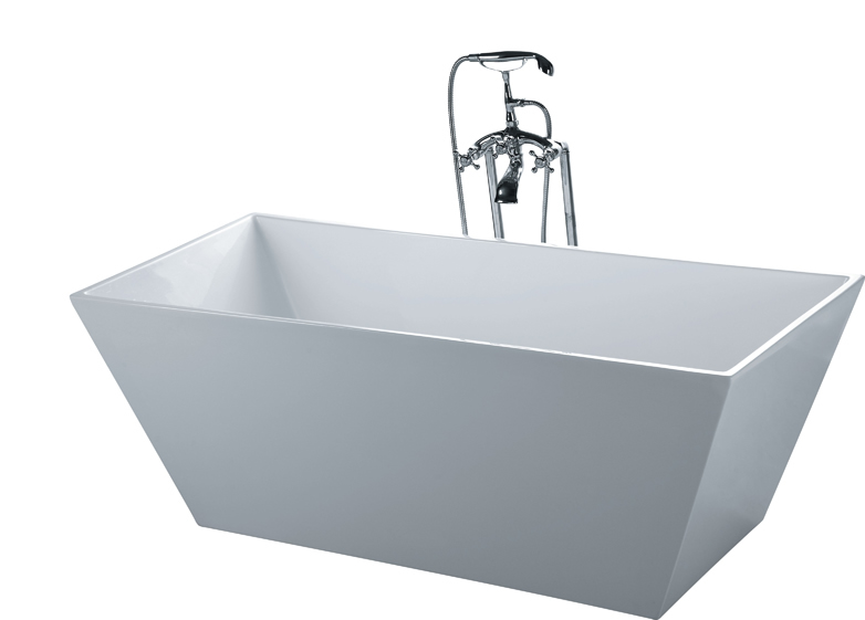 Stand Alone Bathtubs : about BATHTUB SOAKING RECTANGLE & FLOOR FAUCET Modern Stand Alone ...