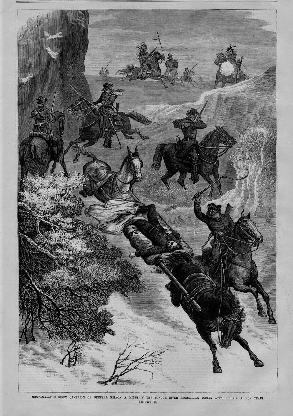 Details about MONTANA SIOUX INDIAN CAMPAIGN GENERAL MILES INDIANS ATTACK  SICK TRAIN WOUNDED