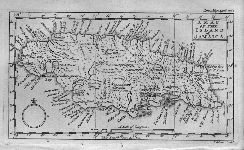 ORIGINAL MAP OF THE ISLAND OF JAMAICA BY J GIBSON VINTAGE - Vintage map of jamaica