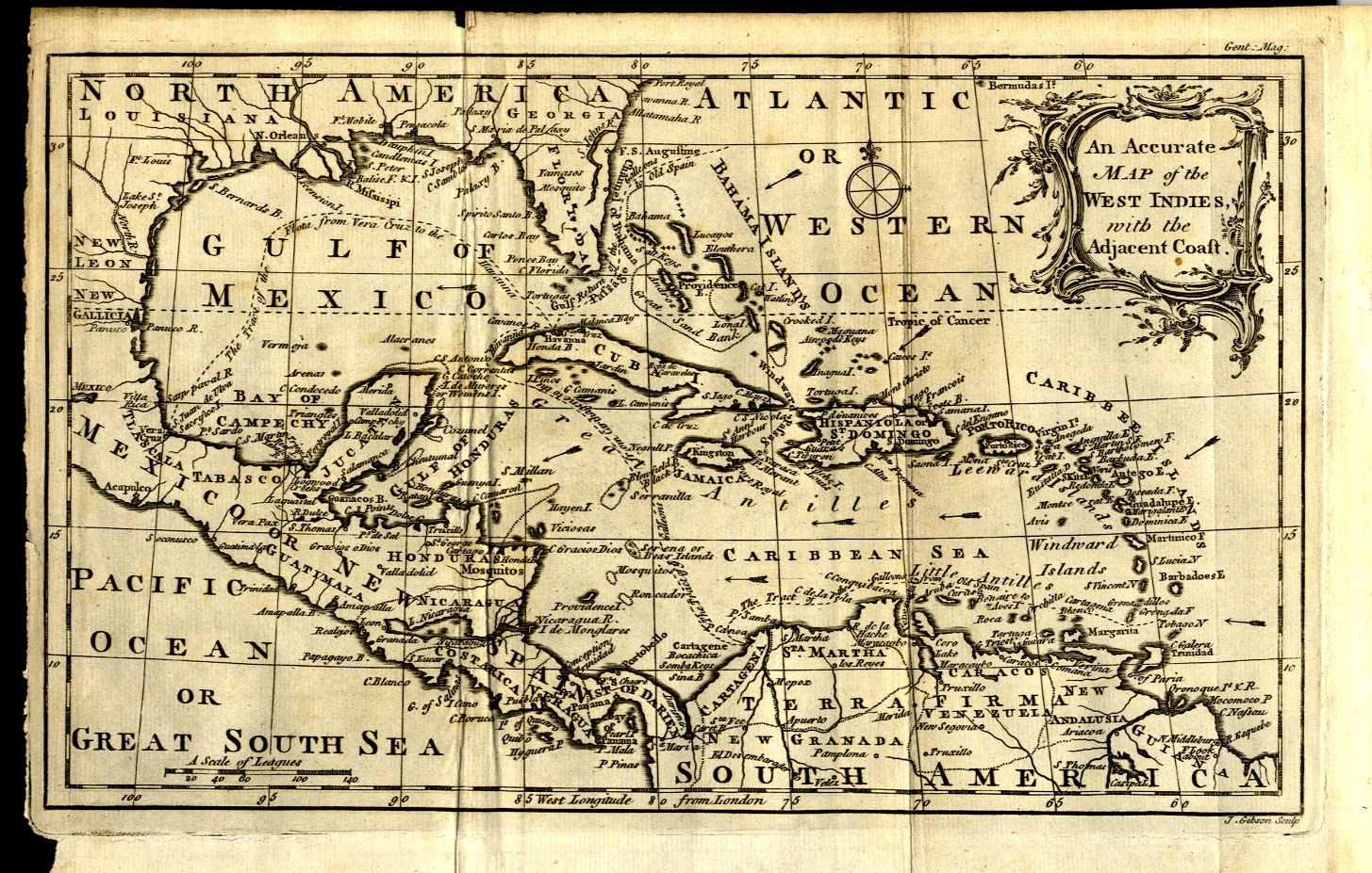 1762 ACCURATE MAP OF THE WEST INDIES AND UNITED STATES COAST FLORIDA ...