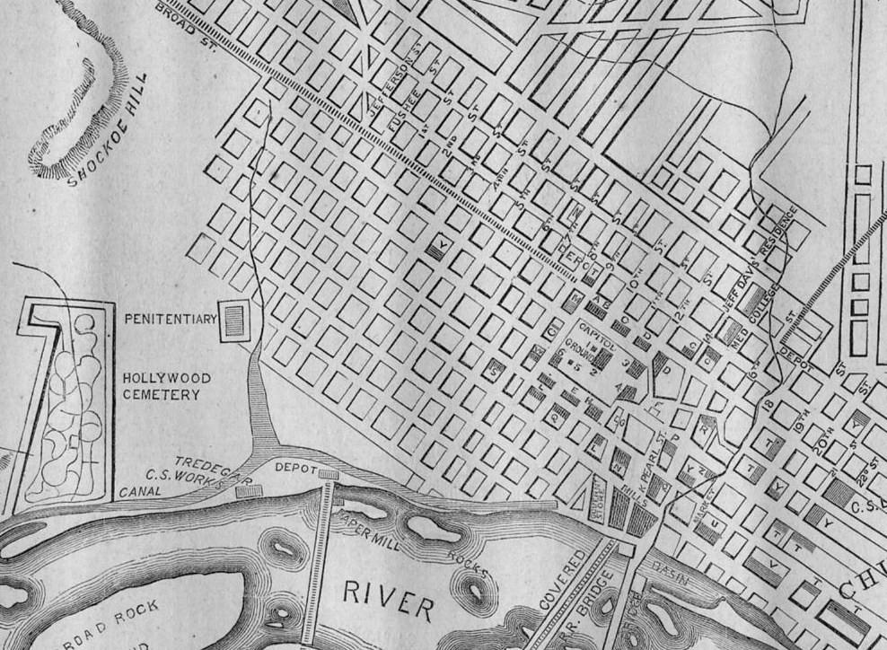 CITY OF RICHMOND VIRGINIA 1862 CIVIL WAR MAP HOLLYWOOD