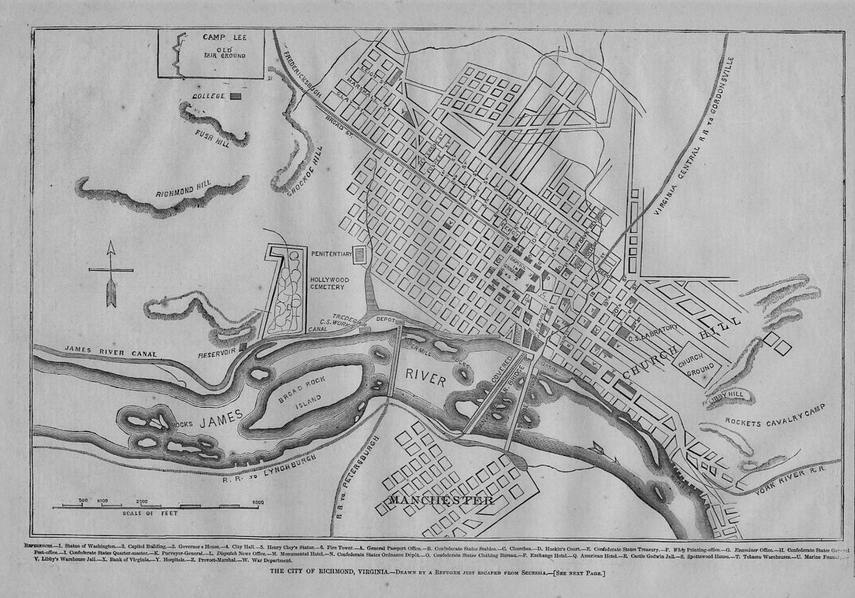 City Of Richmond Virginia 1862 Civil War Map Hollywood Cemetery Camp