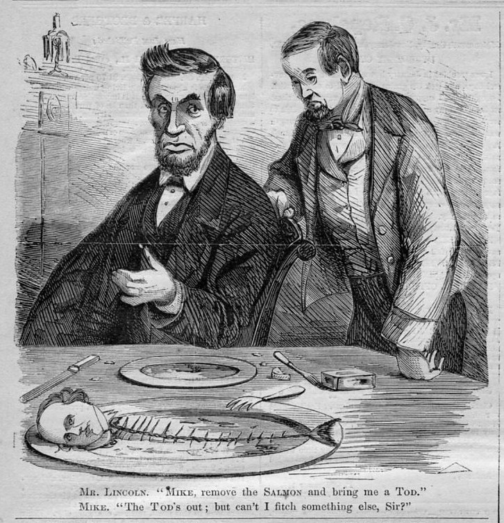 President Abraham Lincoln Political Cartoon David Tod Salmon Chase
