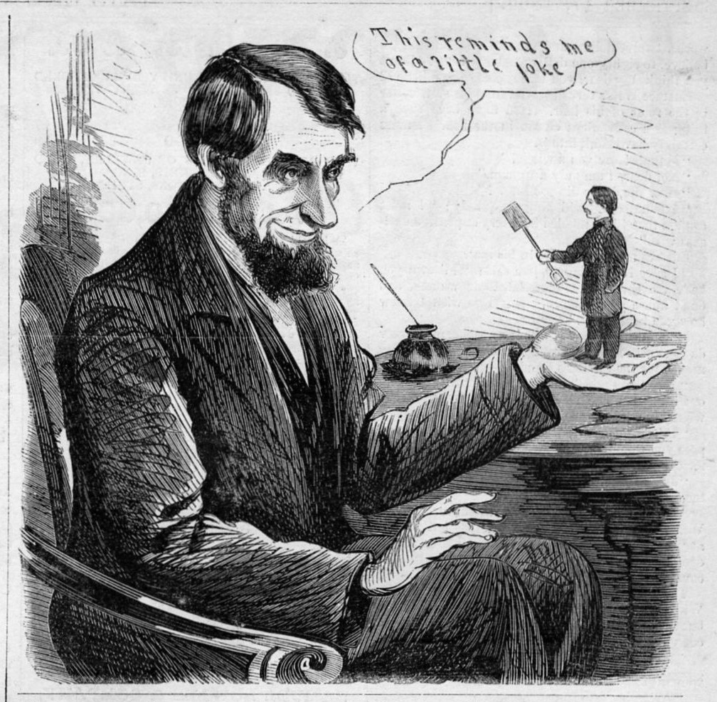 President Abraham Lincoln Political Cartoon 1864 Antique Engraving
