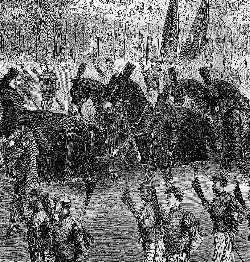President Lincoln Funeral Procession New York City Horse Drawn