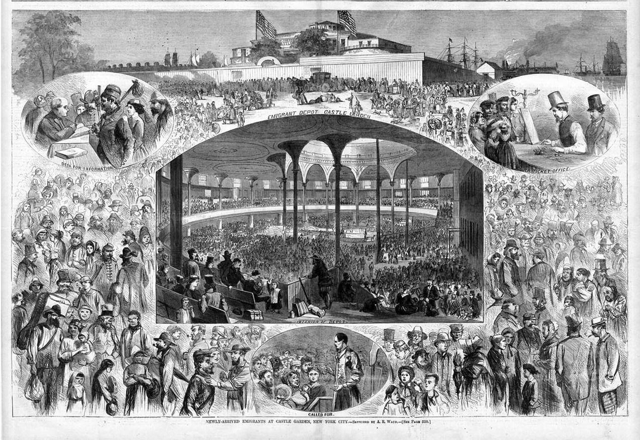 Castle Garden 1865 Newly Arrived Emigrants New York City Ticket