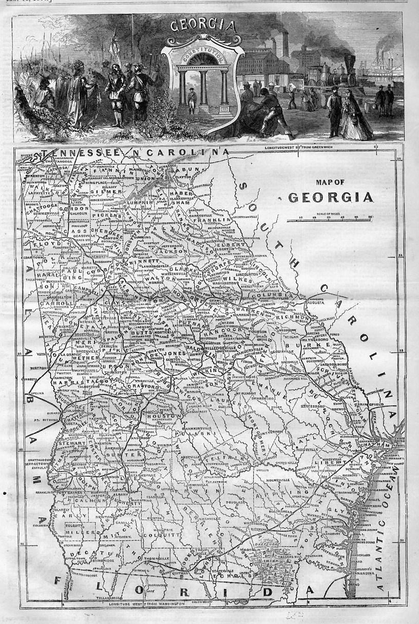 Florida Alabama Map.Map Of Georgia 1866 South Carolina Florida Alabama Railroad