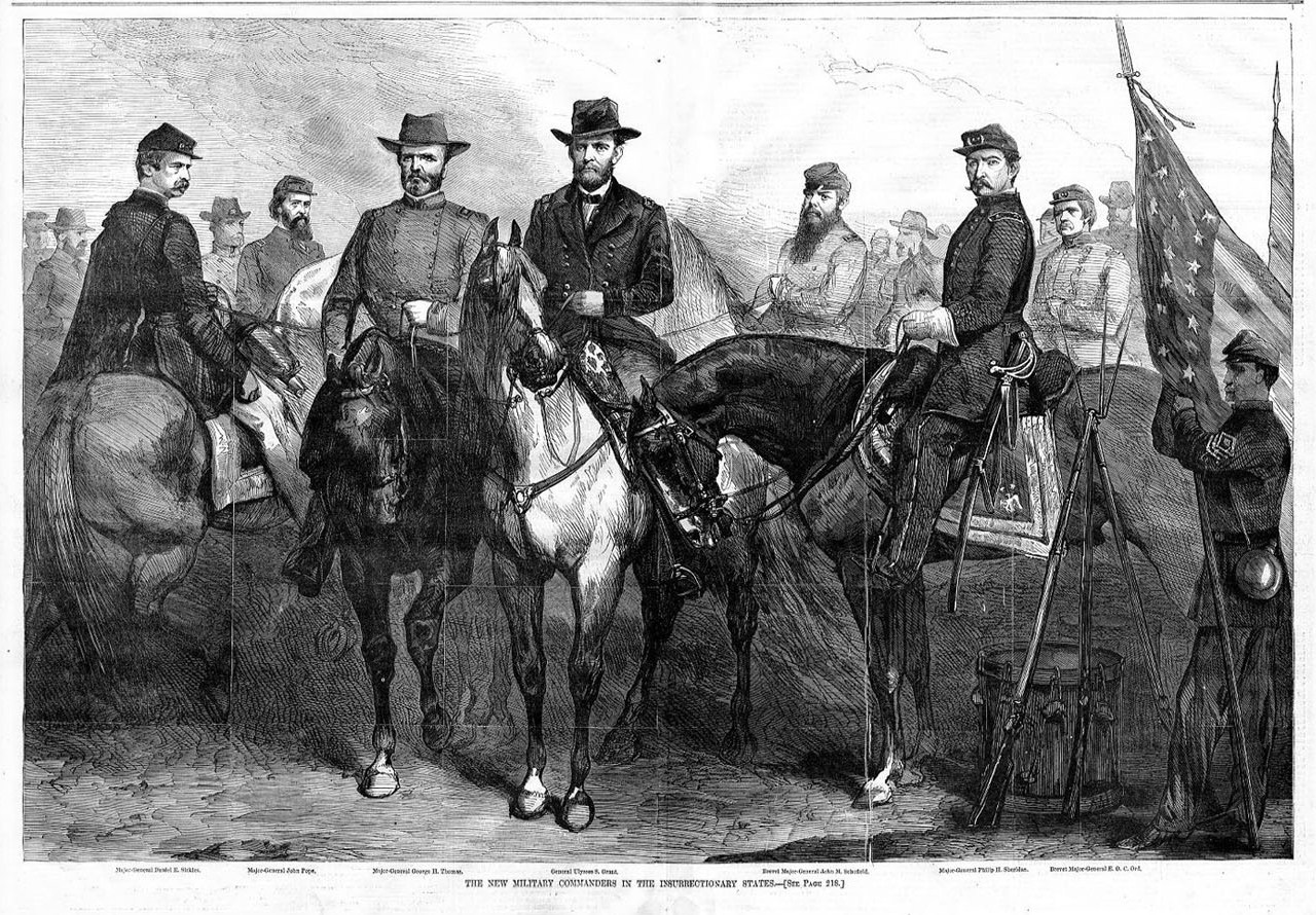 GENERAL ULYSSES GRANT AND HIS MILITARY COMMANDER ON HORSEBACK INSURRECTION FLAGS