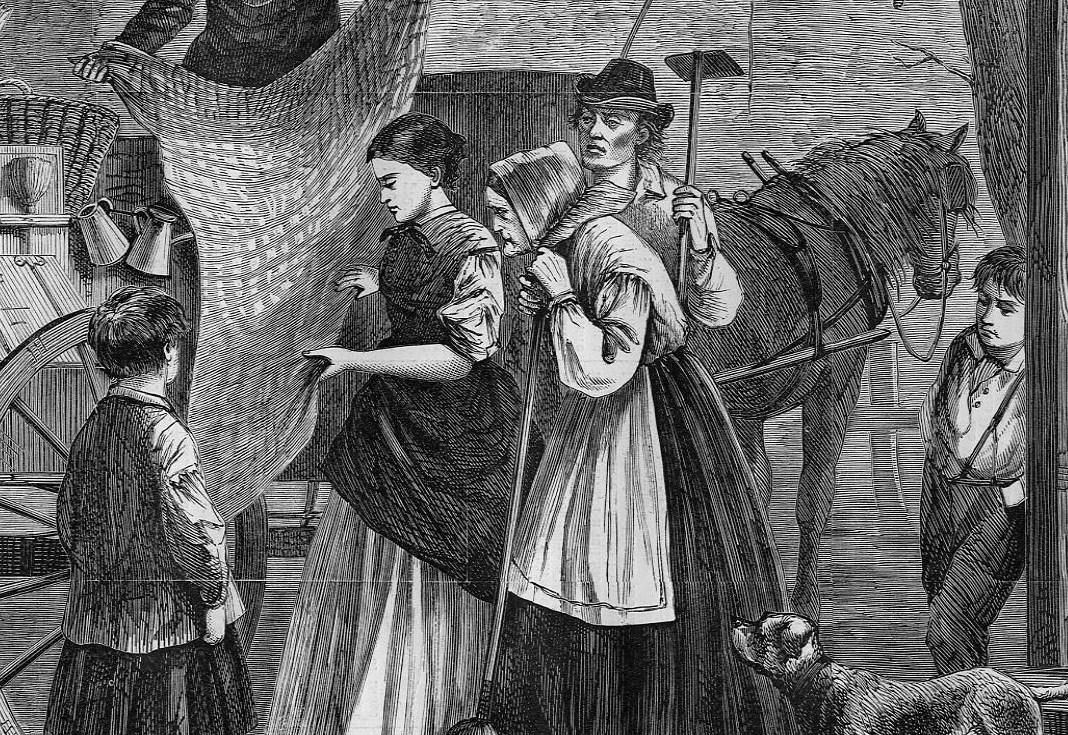THE PEDDLER/'S WAGON VISIT TO FARMHOUSE 1868 SHAWLS BROOMS BASKETS FARMER WOMEN