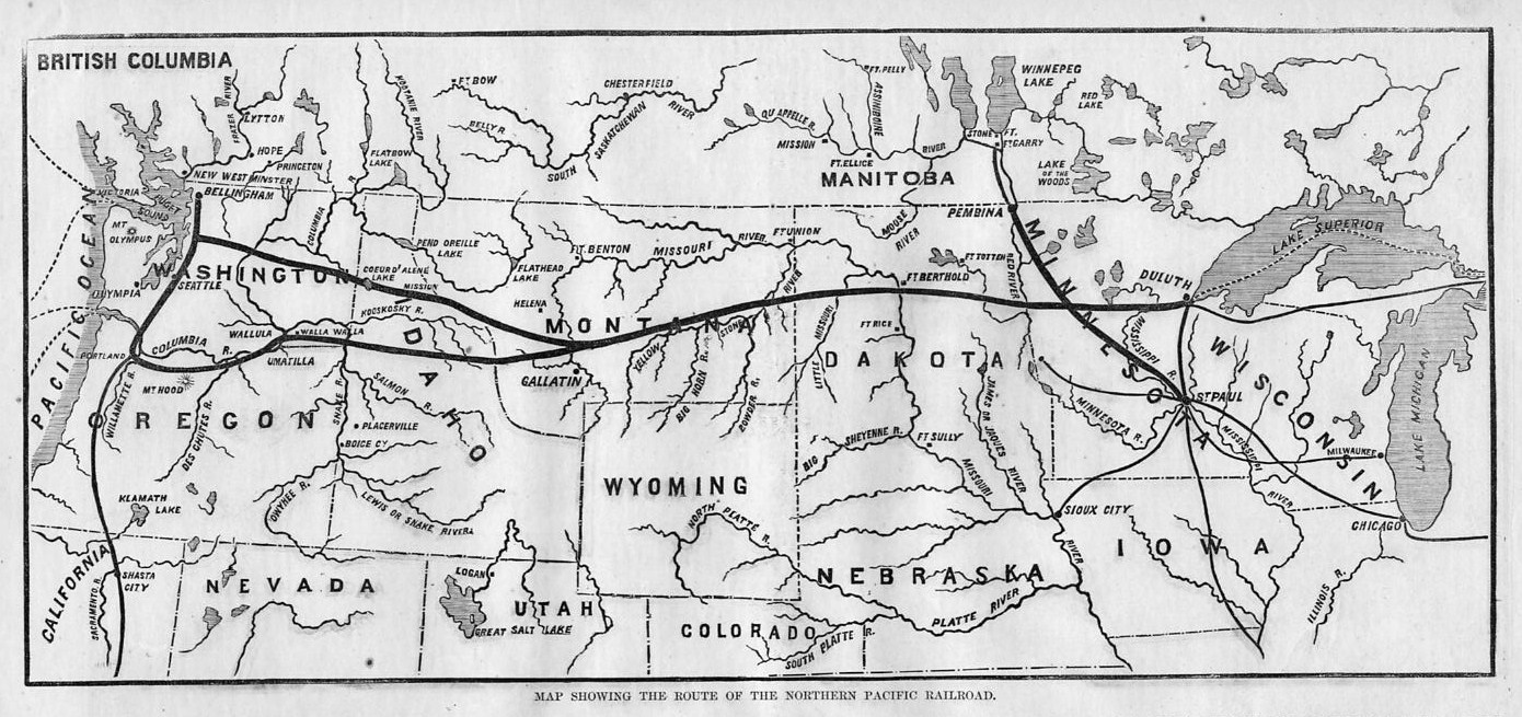Minnesota Canada Map.Northern Pacific Railroad System 1871 Route Map Dakota Montana