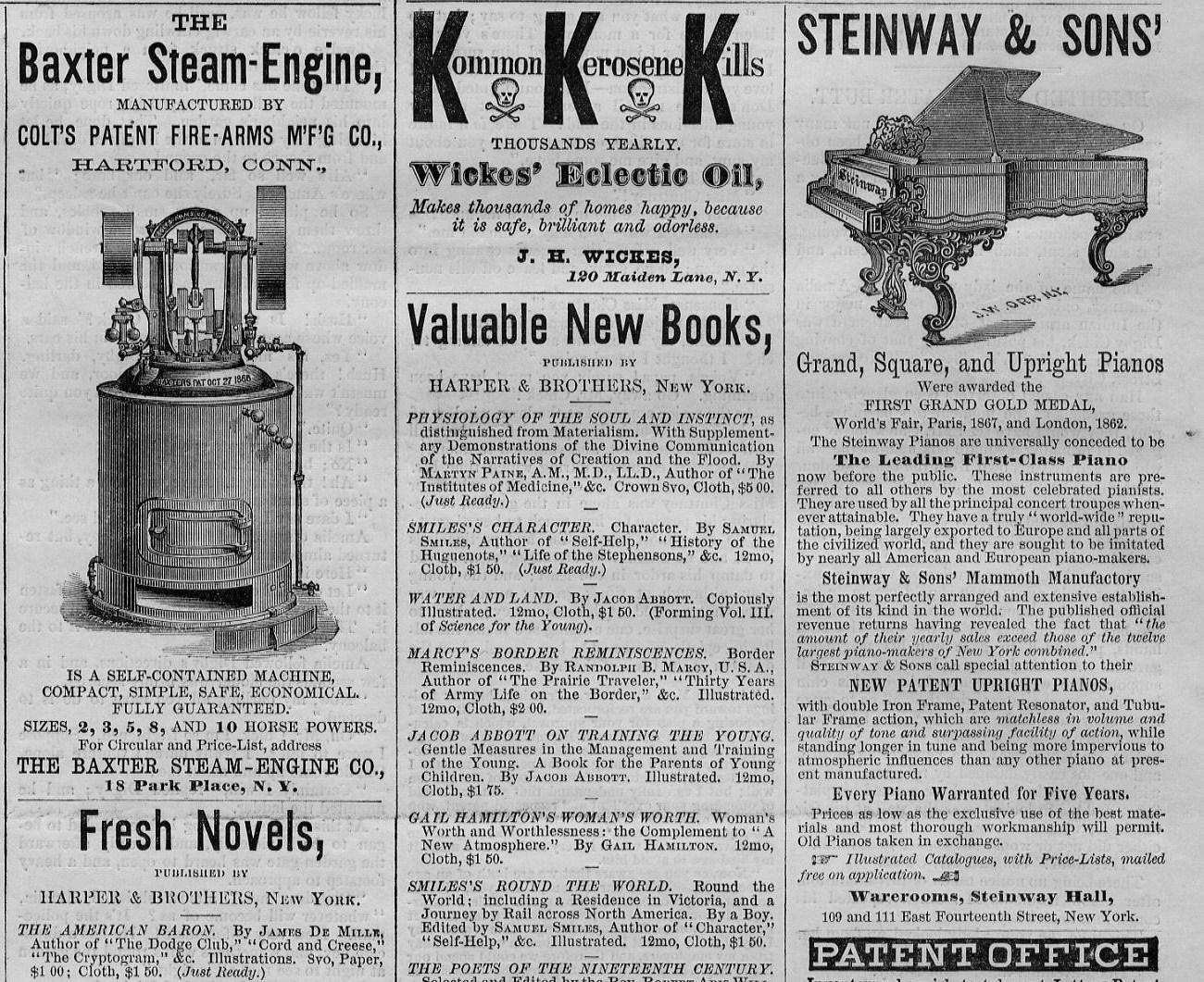 STEAM PARK PLACE NEW YORK BAXTER STEAM ENGINE ANTIQUE 1873 ADVERTISEMENT
