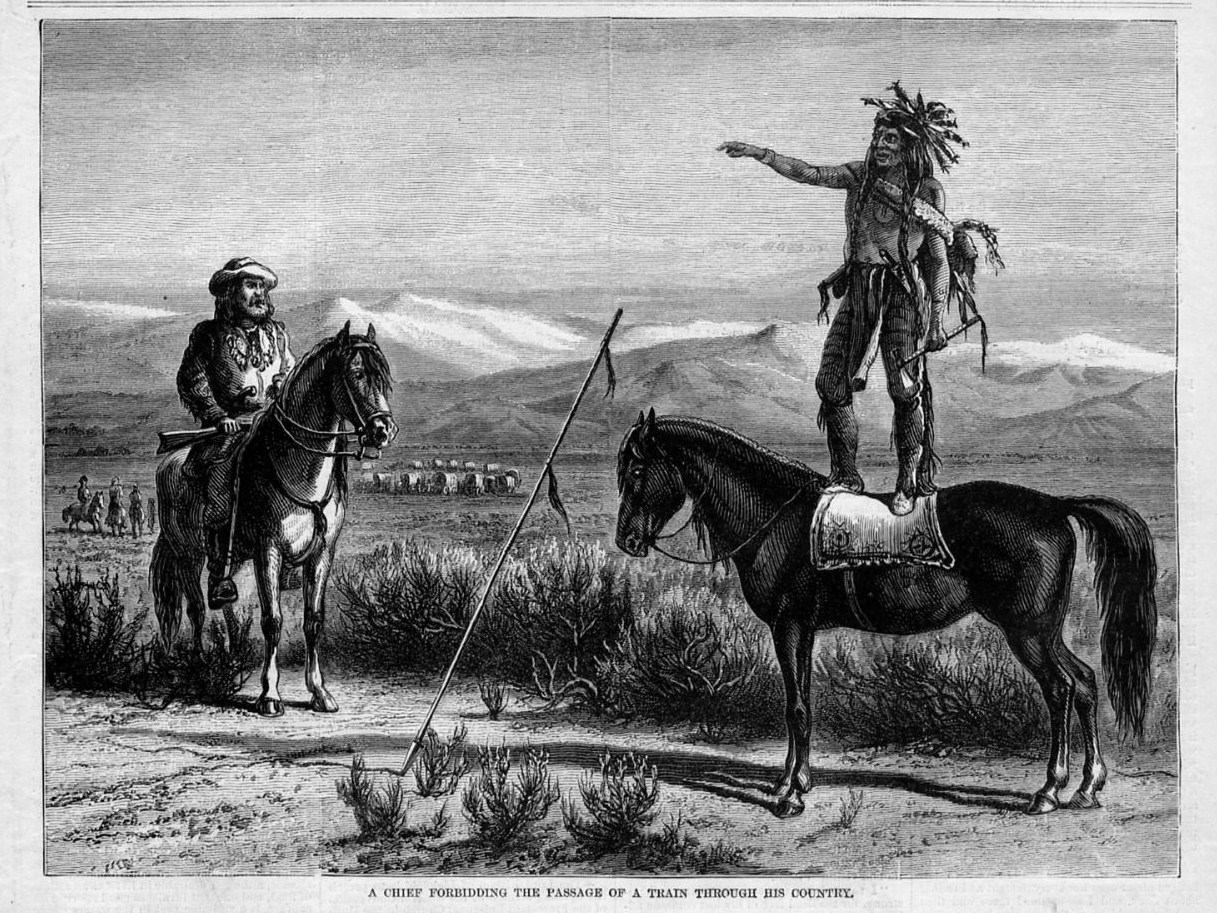 INDIAN CHIEF FORBIDDING THE PASSAGE OF A WAGON TRAIN THROUGH HIS COUNTRY HORSES