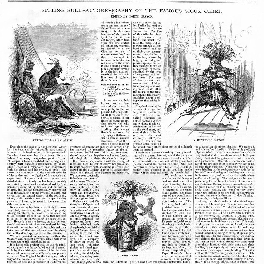 Details about SITTING BULL FAMOUS SIOUX CHIEF 1876 AUTOBIOGRAPHY, HEATHEN,  HORSES, ARTIST
