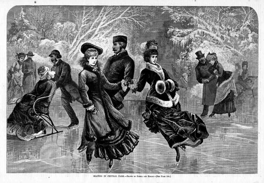 SKATING IN CENTRAL PARK 1877 ANTIQUE ICE SKATE ICE RINK | eBay