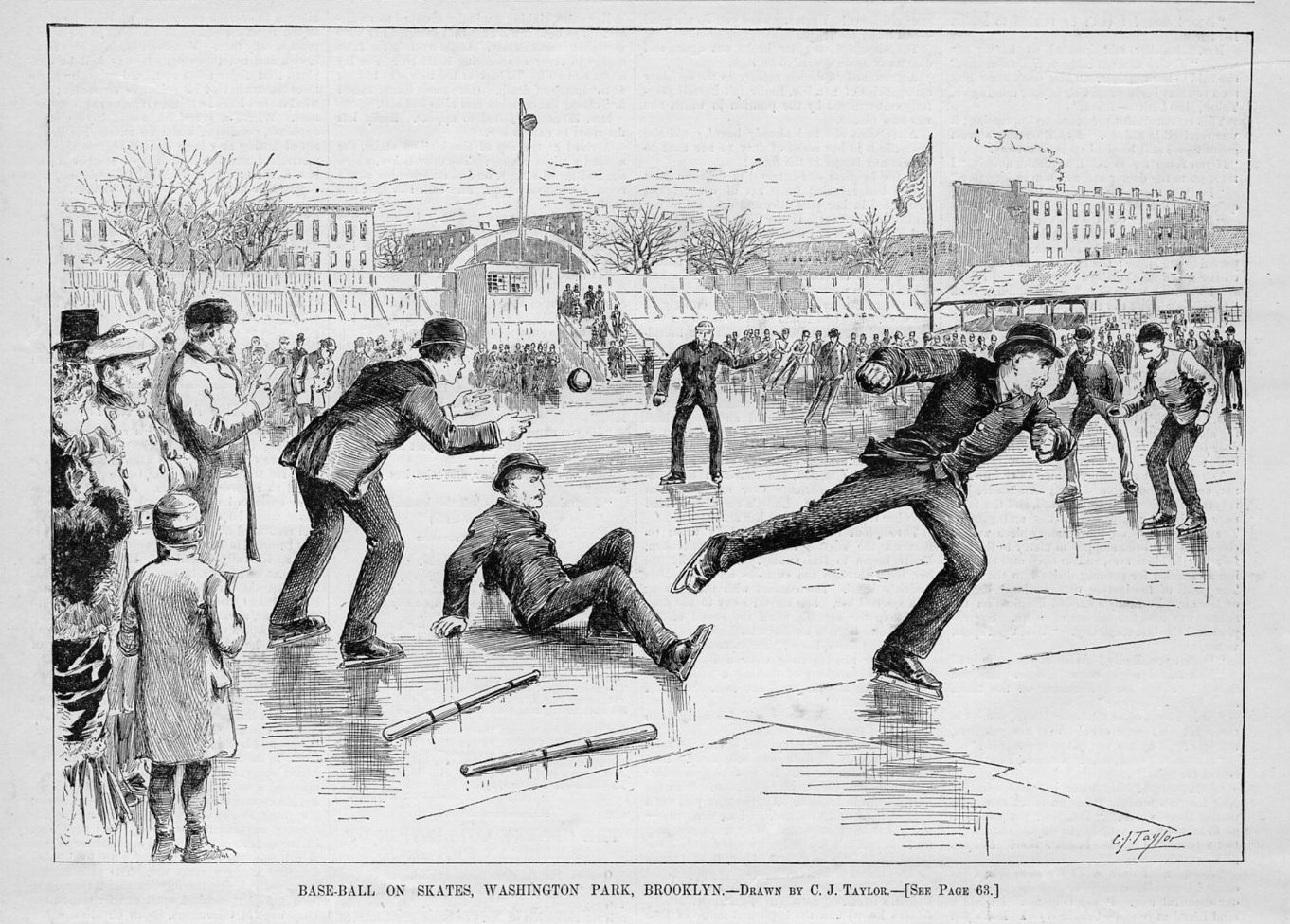 BASE-BALL ON SKATES WASHINGTON PARK BROOKLYN SPORTS SPECTATORS 1884 BASEBALL