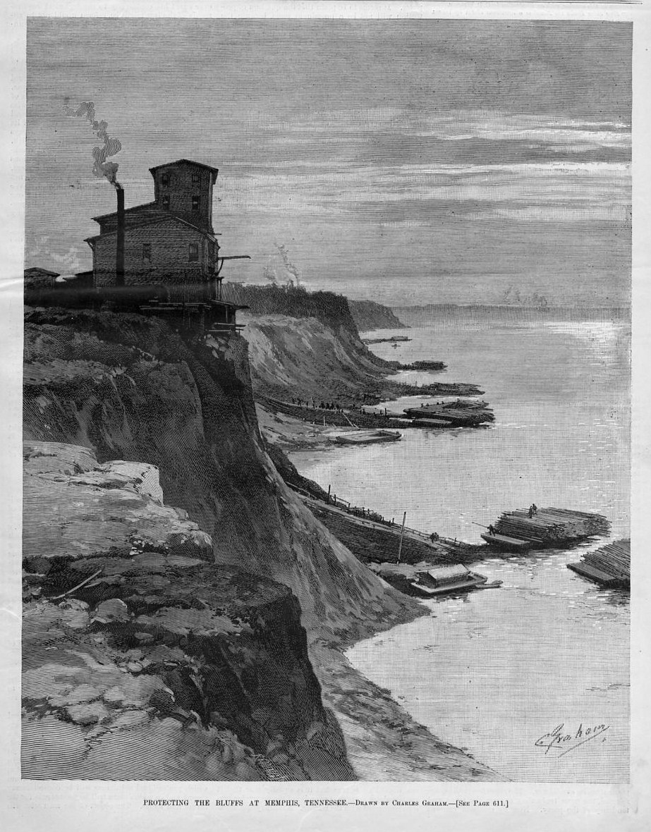 MEMPHIS TENNESSEE PROTECTING THE BLUFFS LUMBER RAFT 1887 ANTIQUE ENGRAVING