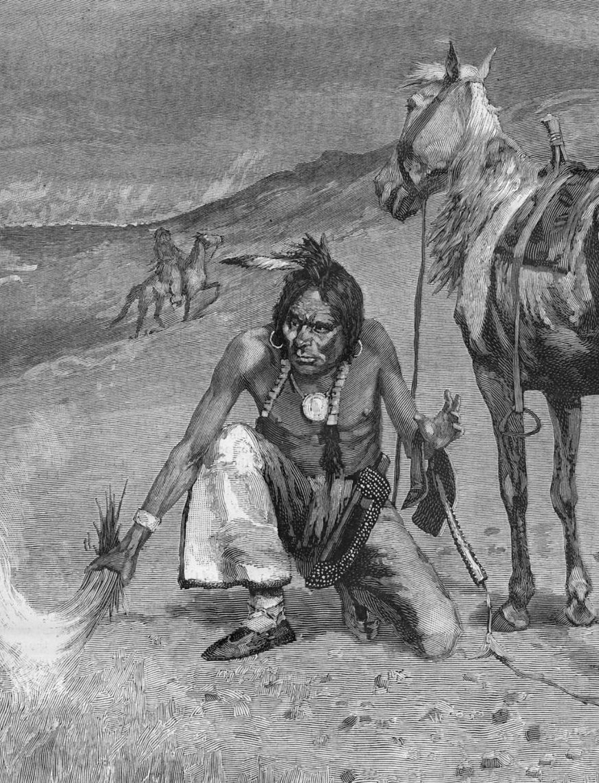 FREDERIC REMINGTON 1887 INDIAN BURNING THE RANGE STARTING FIRE HORSES SADDLE